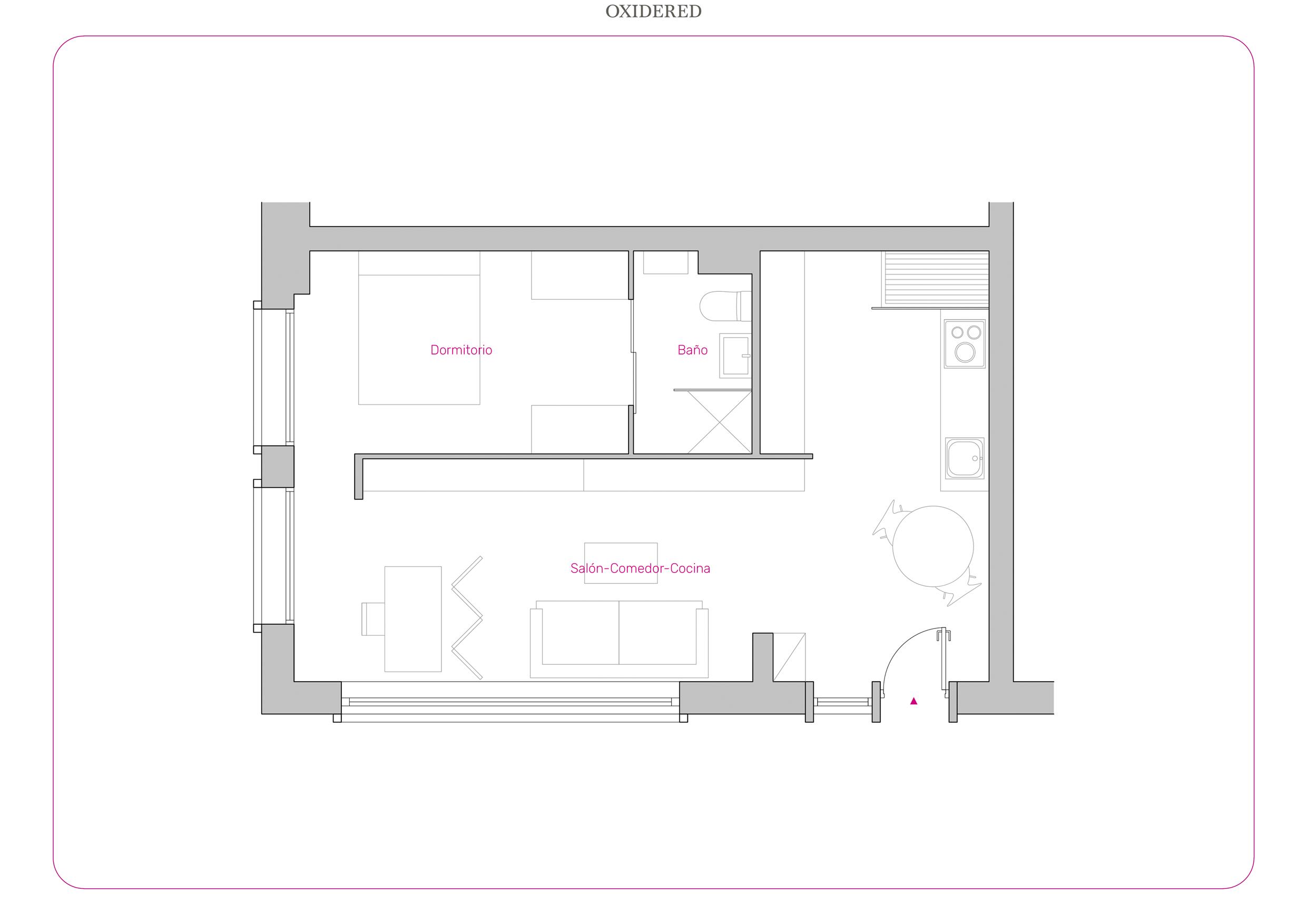 Plano de distribución de un apartamento en Madrid.