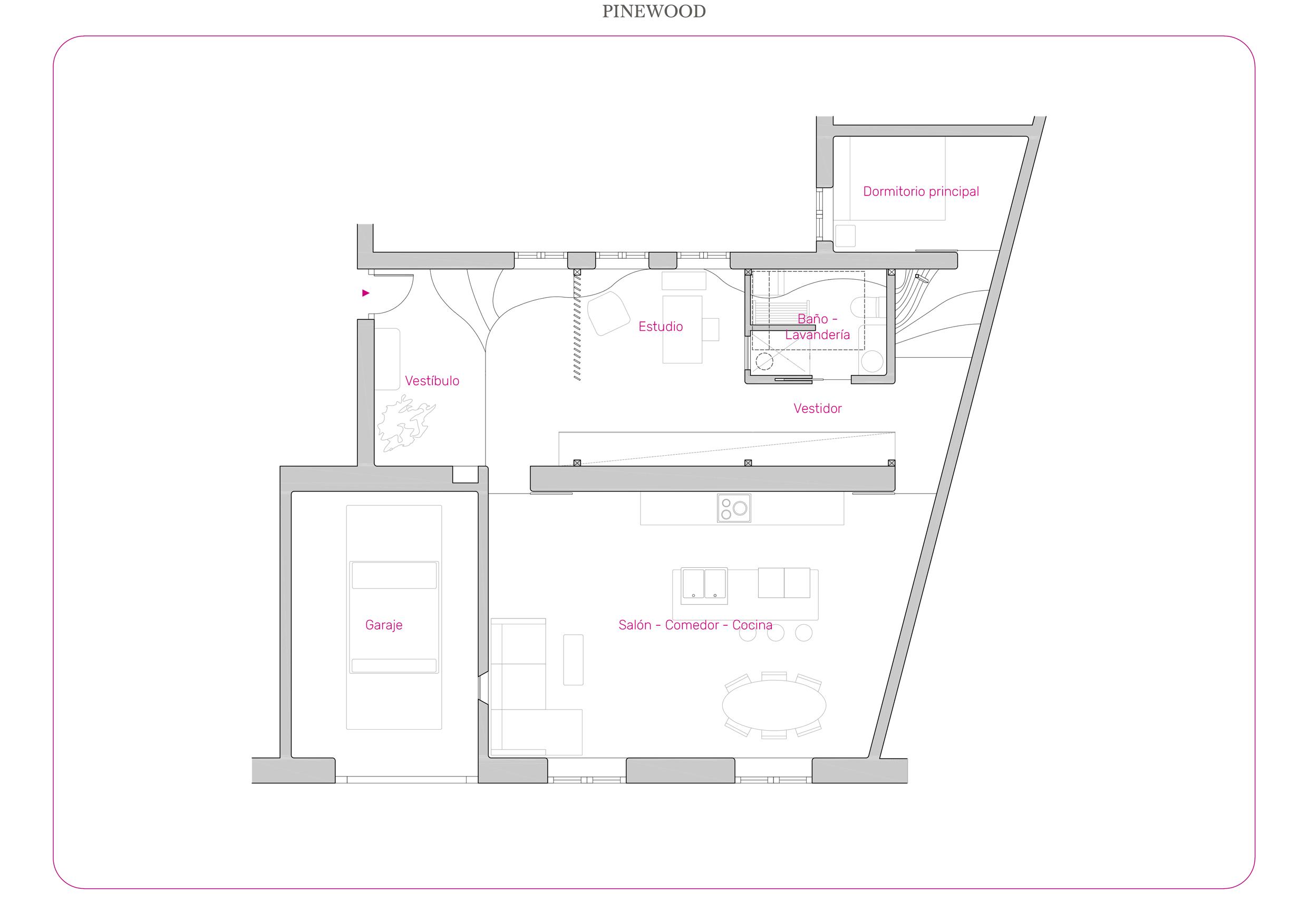 Plano de distribución de un loft en Madrid.