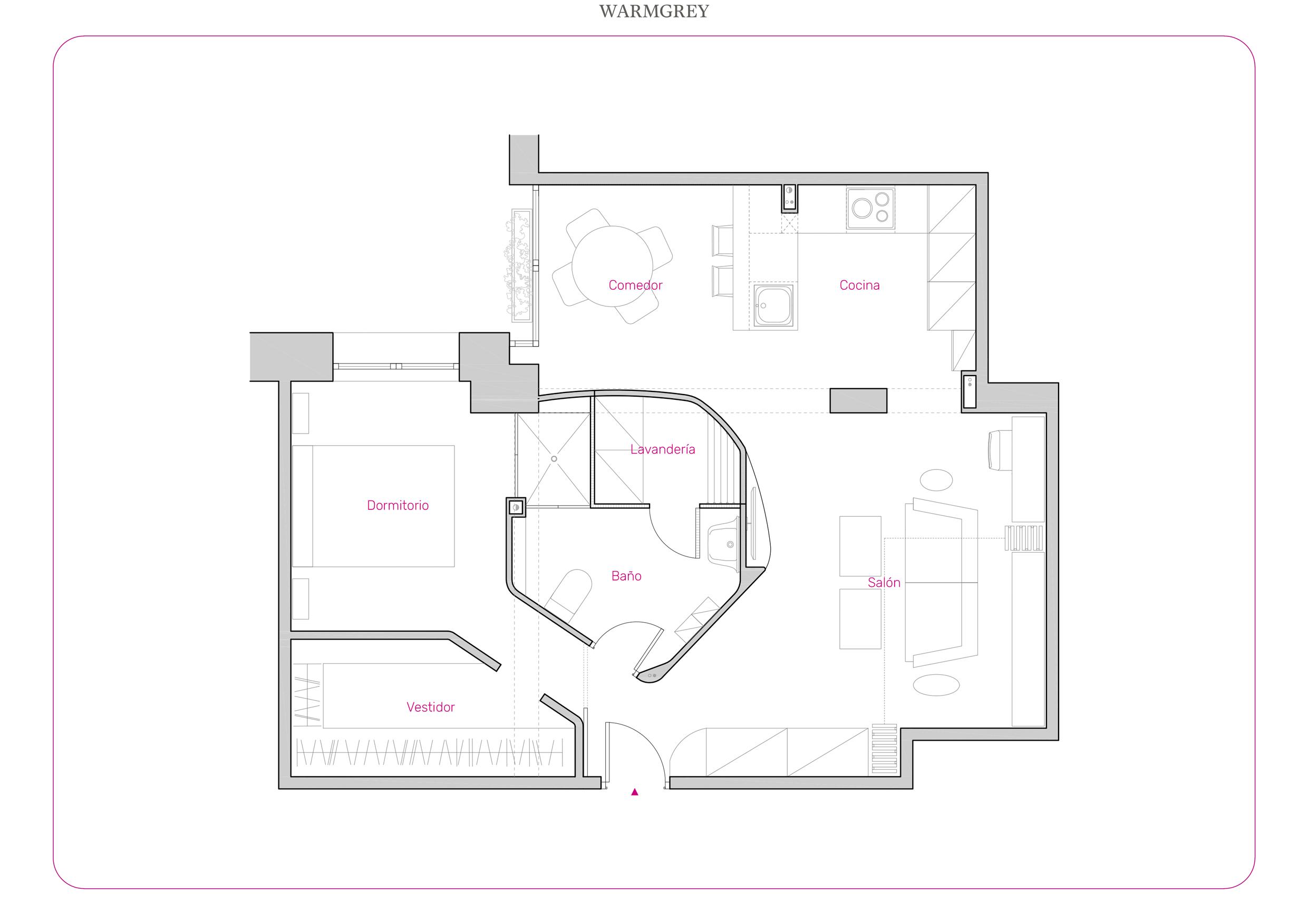 Plano de distribución de una vivienda en Madrid.